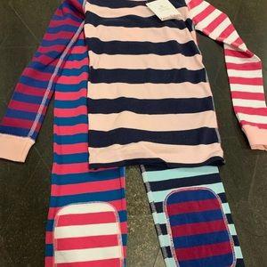 Hanna Andersson 120 6/7 pink navy stripe pajamas